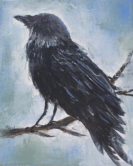 """Curious Crow"" matted 8""x10"" Fine Art Print"