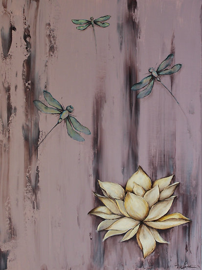 """""""Lotus and the Dragonfly"""" matted 8""""x10"""" Fine Art Print"""