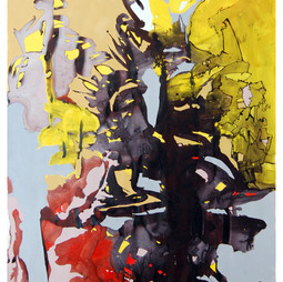 """Pasticciera Balanciert Between Blood & Sand""  Freeda Lohr 2015  110x220 cm Acryl auf Papier"