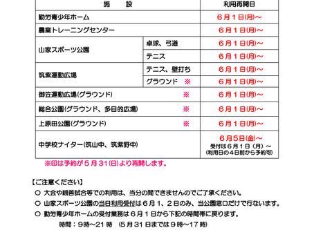 施設・グラウンド等の利用再開について(R2.5.28)