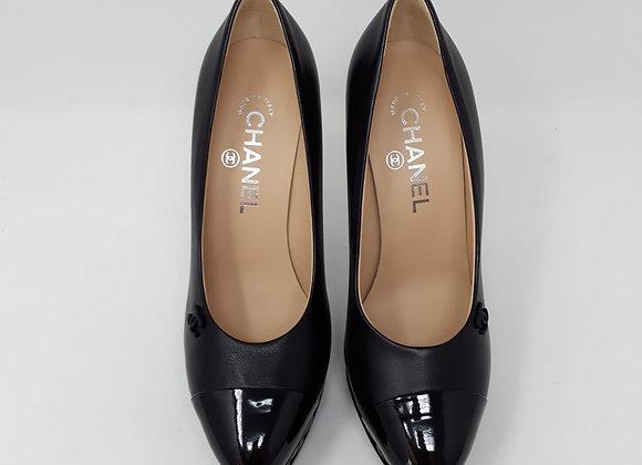 Chanel sandalo nero con plateau pelle