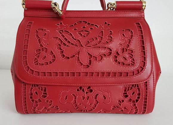 Dolce & Gabbana Sicily classic rossa nappa intagliata