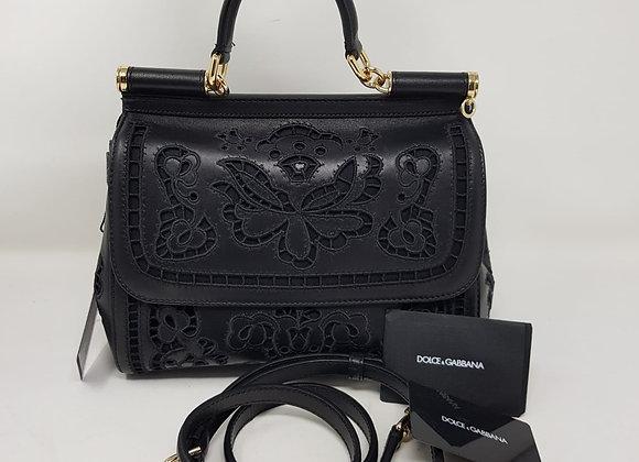 Dolce & Gabbana Sicily Classic nera nappa intagliata