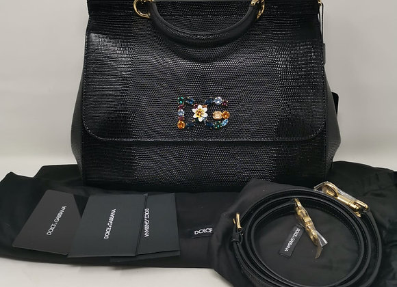 Dolce & Gabbana Sicily Classic nera stampa iguana