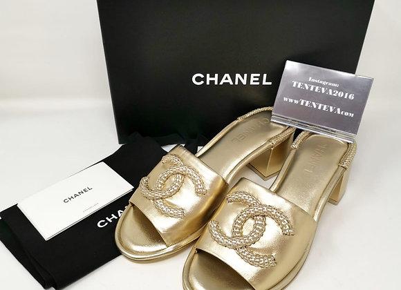 Chanel Sandalo Tacco Oro Nr. 41,5