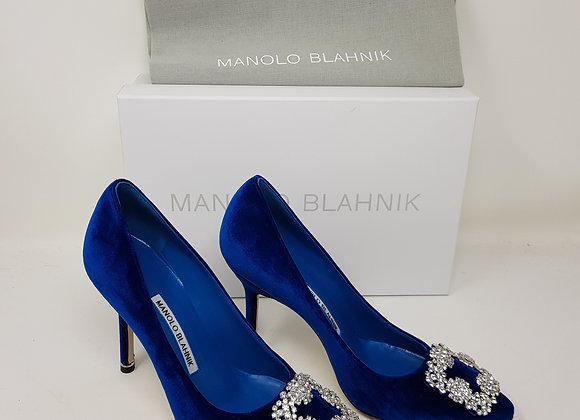 Manolo Blahnik Hangisi Blu Velluto Tacco 10,5 Nr. 35