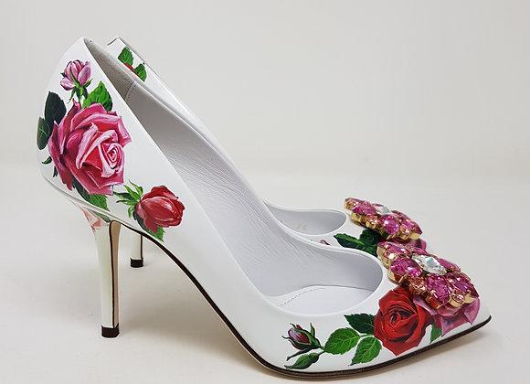 Dolce & Gabbana decollete Bianche con Fiori Swarovsky