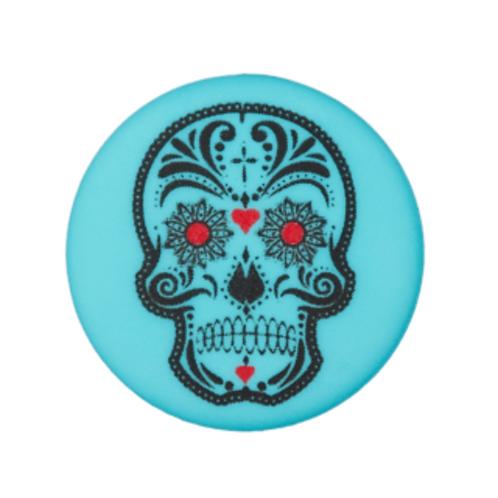 bouton - tête de mort - bleu  -20mm - 1,6€/pce