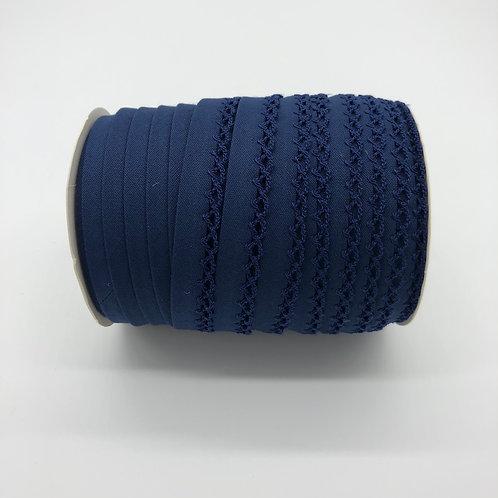 Biais picot - decor morgon - Bleu navy