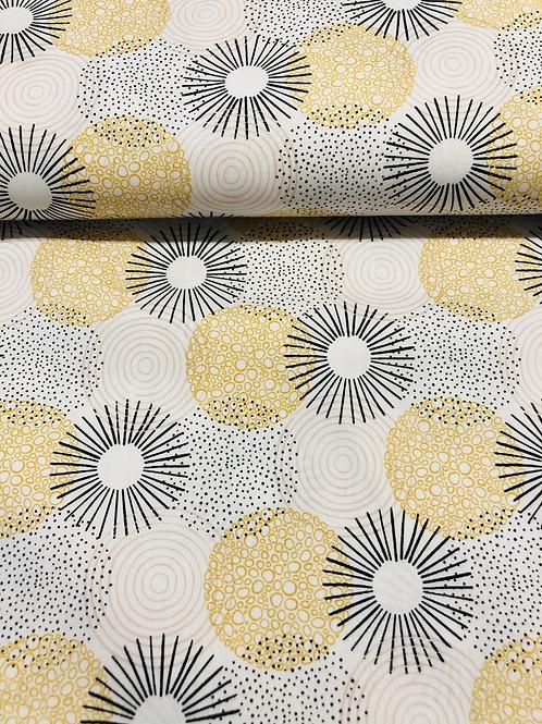 Popeline de coton - spirale jaune - 9€/m