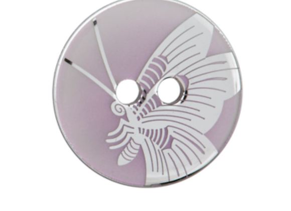 bouton - papillon nacré rose  - 23mm - 2,30€/pce