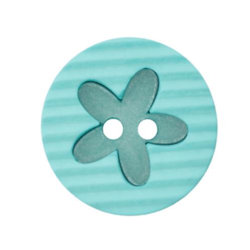 bouton - fleur turquoise  -20mm - 1,2€/pce