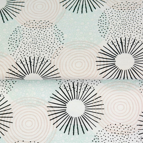 Popeline de coton - spirale turquoise - 9€/m