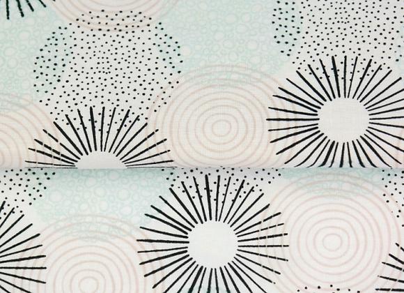 Popeline de coton - spirale menthe - 9€/m