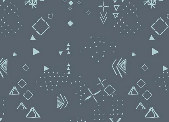Coton - Graphique gris/motifs turquoises  -  16€/m