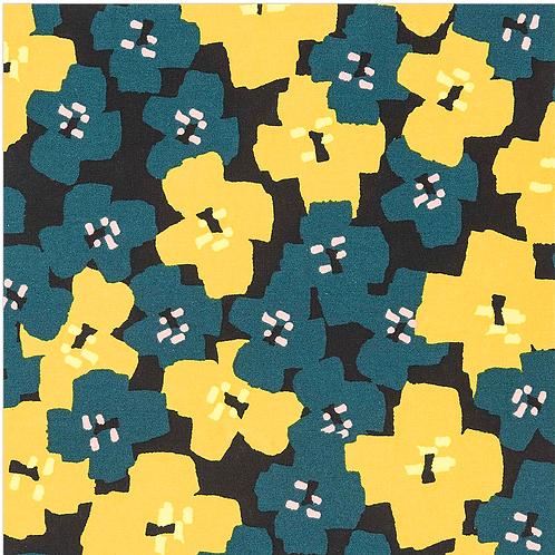 coton- fleuris noir 15,5€/m