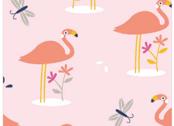 Coton - Shaflam - flamant rose  - 11€/m