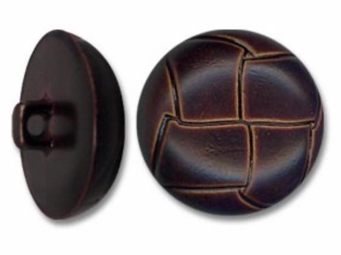 Boutons imitation cuir brun  -  22mm - 1,20€/pce