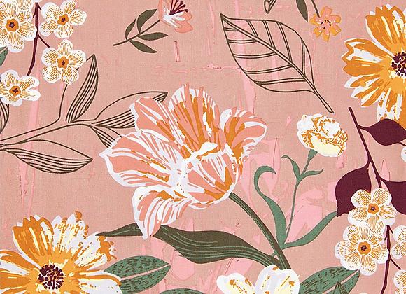 Coton mauve - fleurs fluo - 19,5€/m
