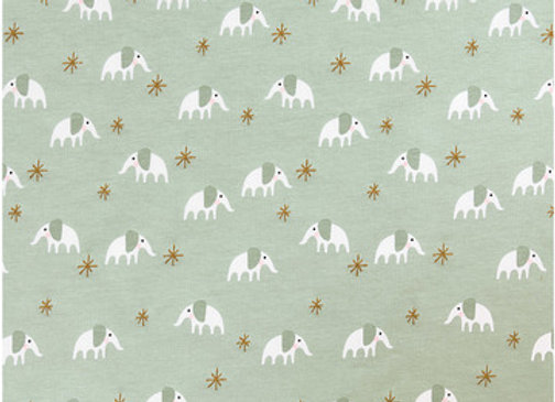 JERSEY MENTHE, ELEPHANT OR - Coupon 50cm/1.40m