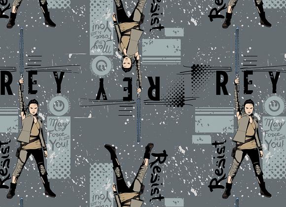Coton -  Star Wars - Rey fond gris  - 19,90€/m