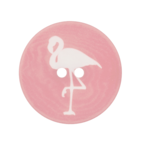 bouton - flamant rose  - 23mm - 1,60€/pce