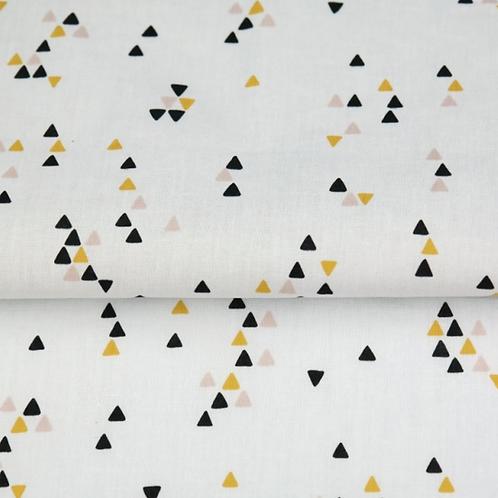 Popeline de coton - trio triangle /jaune - 9€/m