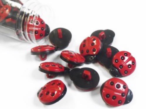 Boutons coccinelle  - 18mm - 0,60€/pce