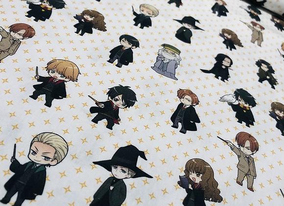 Coton - Personnages Harry Potter - fond étoilé - 15€/m