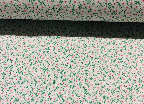 Popeline de coton -  fleuri vert - 9€/m