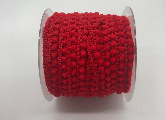 Galon pompon micro 10mm - Rouge