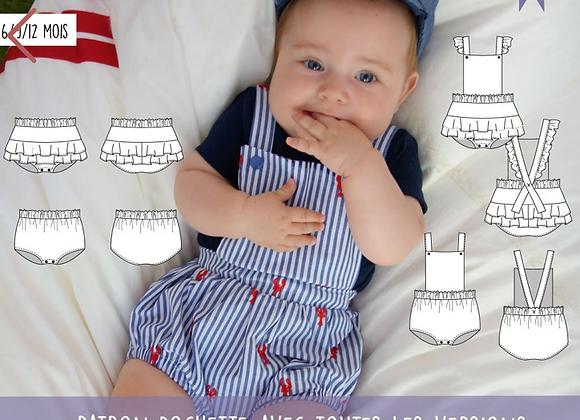 Patron bébé barboteuse et culotte mixte Sugar