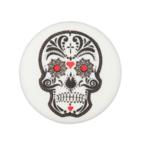 bouton - tête de mort - blanc  -20mm - 1,6€/pce