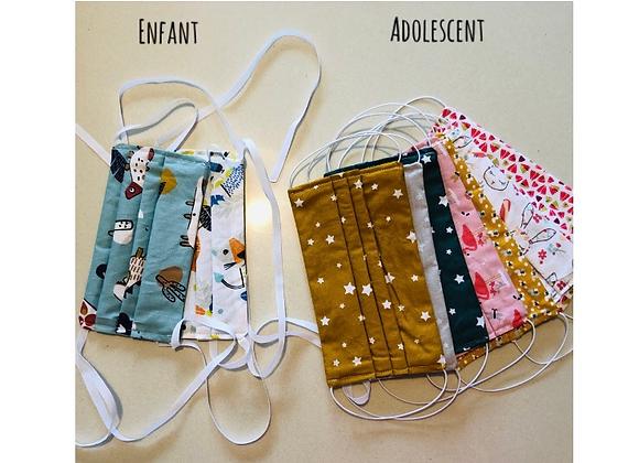 Masques enduit - Enfants cordelettes/Adolescent élastiques