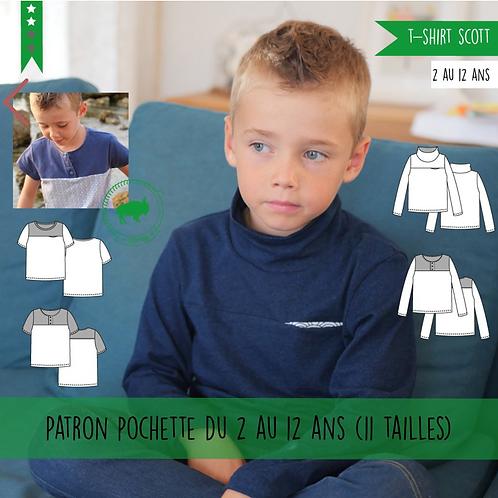 Patron T-shirt garçon Scott 2/12 ans