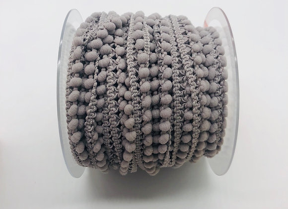 Galon pompon micro 10mm - Gris