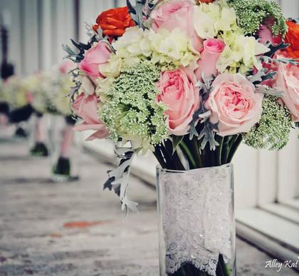 pink garden rose, hydrangea, lace dusty,