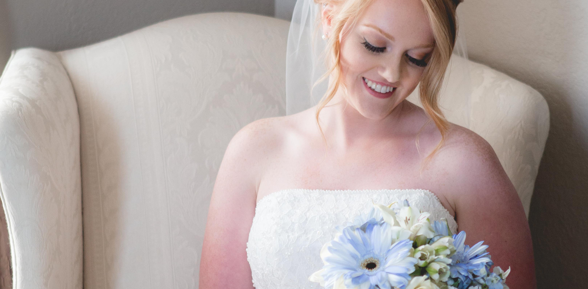 Blue and White bouquet and Bride