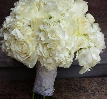 all white, hydrangea, ranunculus, rose.j