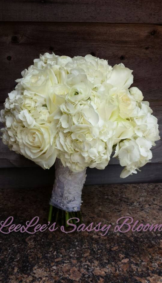 all white, hydrangea, ranunculus, rose.j