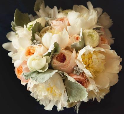 white peony, peach garden rose, dusty, b