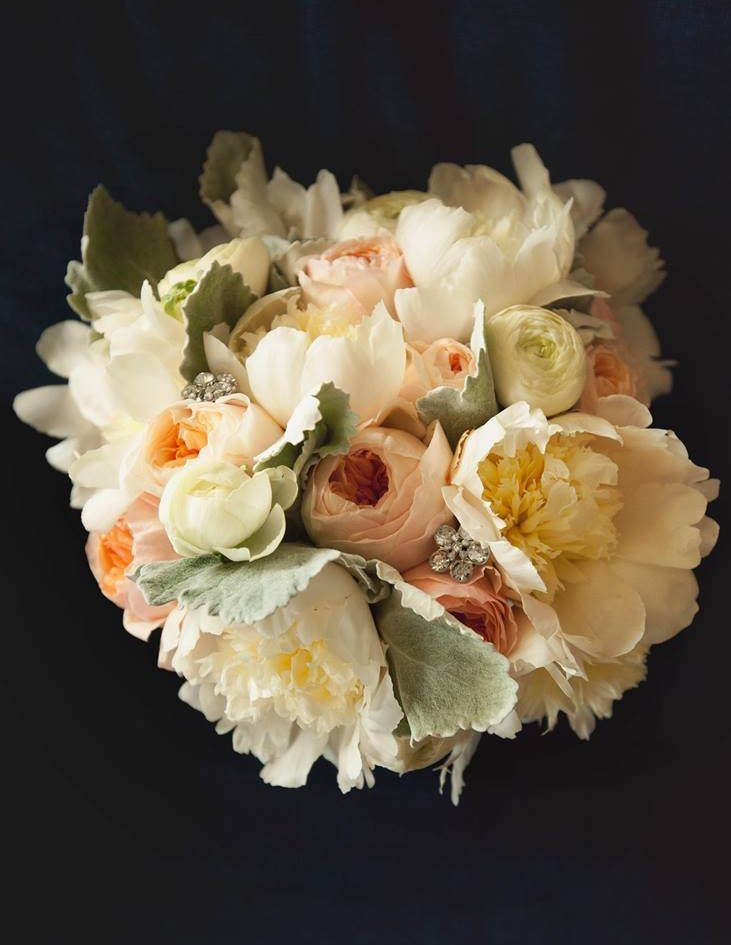 white peony, peach garden rose, dusty, b