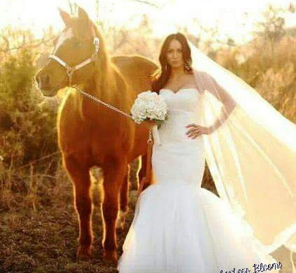 Bride and her horse
