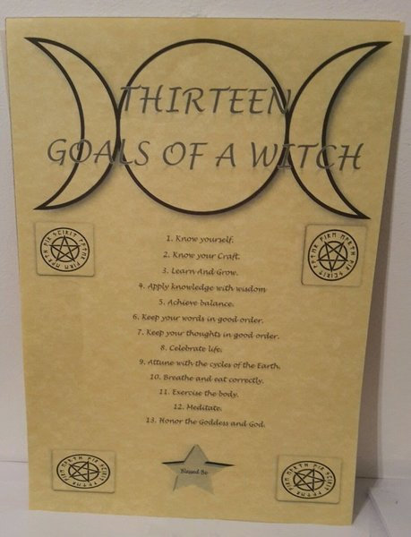 "Pagan Parchment Poster ""13 Goals Of A Witch"""