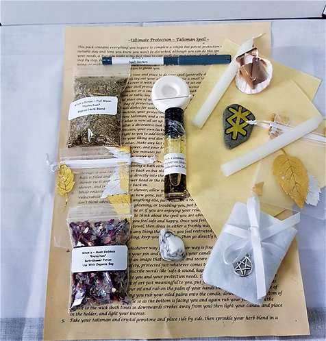 Complete Ultimate PROTECTION Spell Kit, Talisman Altar Cloth Plus More