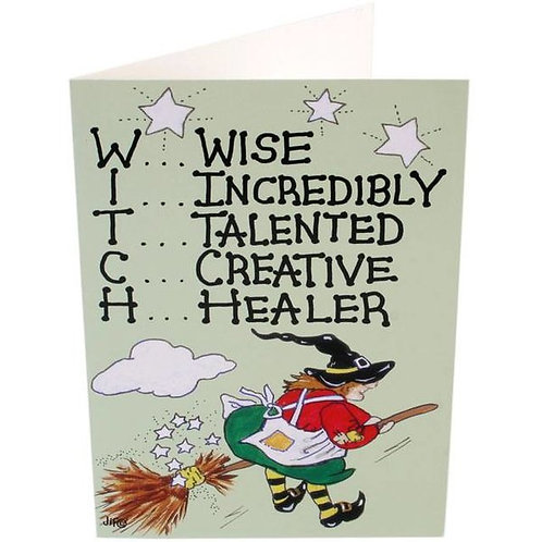 """""""W.I.T.C.H"""" PAGAN HUMOUR GREETINGS CARD BY SMILEY"""