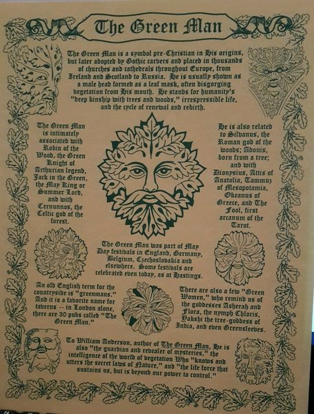 "Pagan Poster ""GREENMAN"" On Parchment Paper"