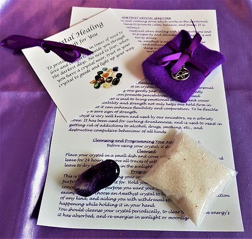 Crystal Healing AMETHYST Spiritual Gift Set Crystal Salt Gift Bag and Card