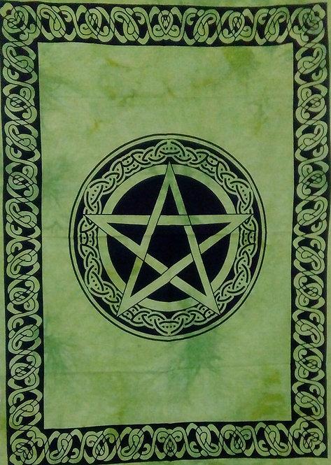 Large Altar Cloth ~ Pentagram Green Celtic Design