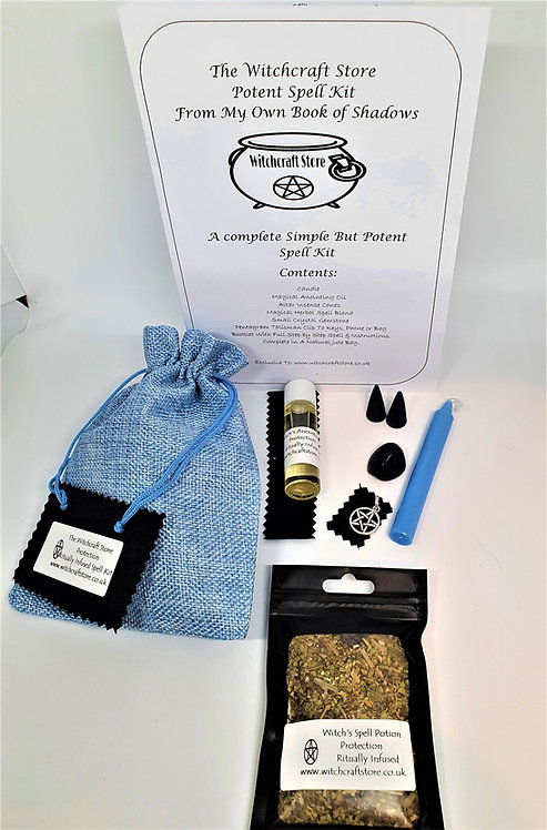 Witches Complete Spell Kit ~ Protection ~ Potion, Oil, Talisman, Cryst